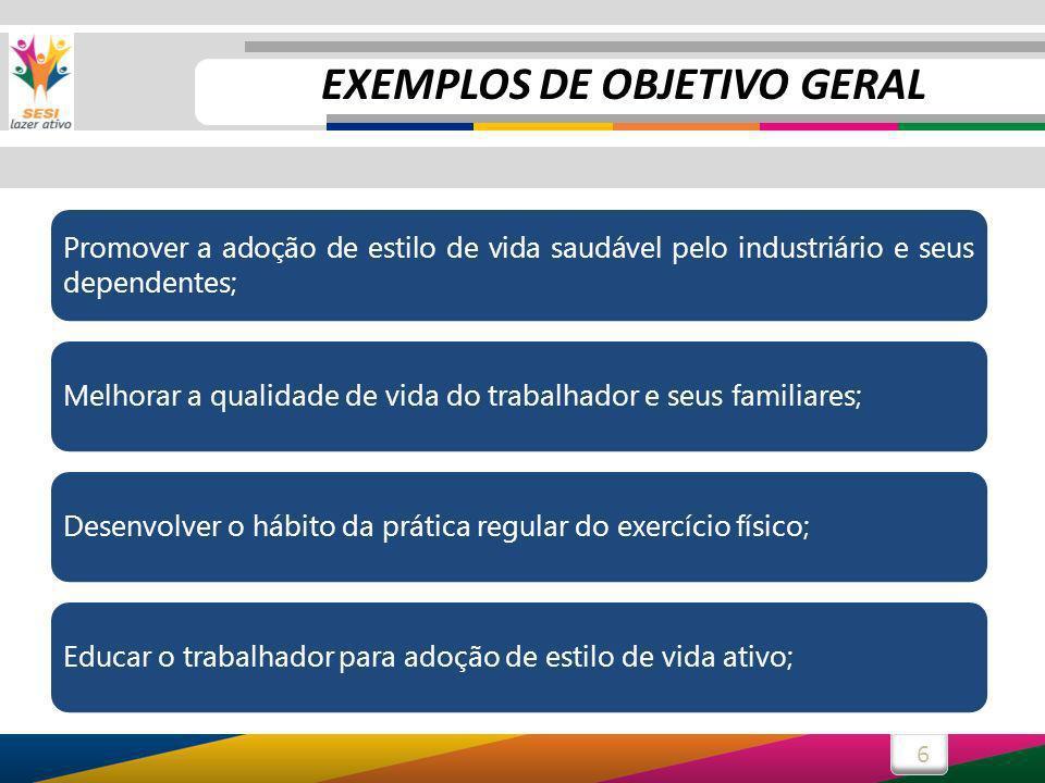 6 Promover a adoção de estilo de vida saudável pelo industriário e seus dependentes; Melhorar a qualidade de vida do trabalhador e seus familiares;Des