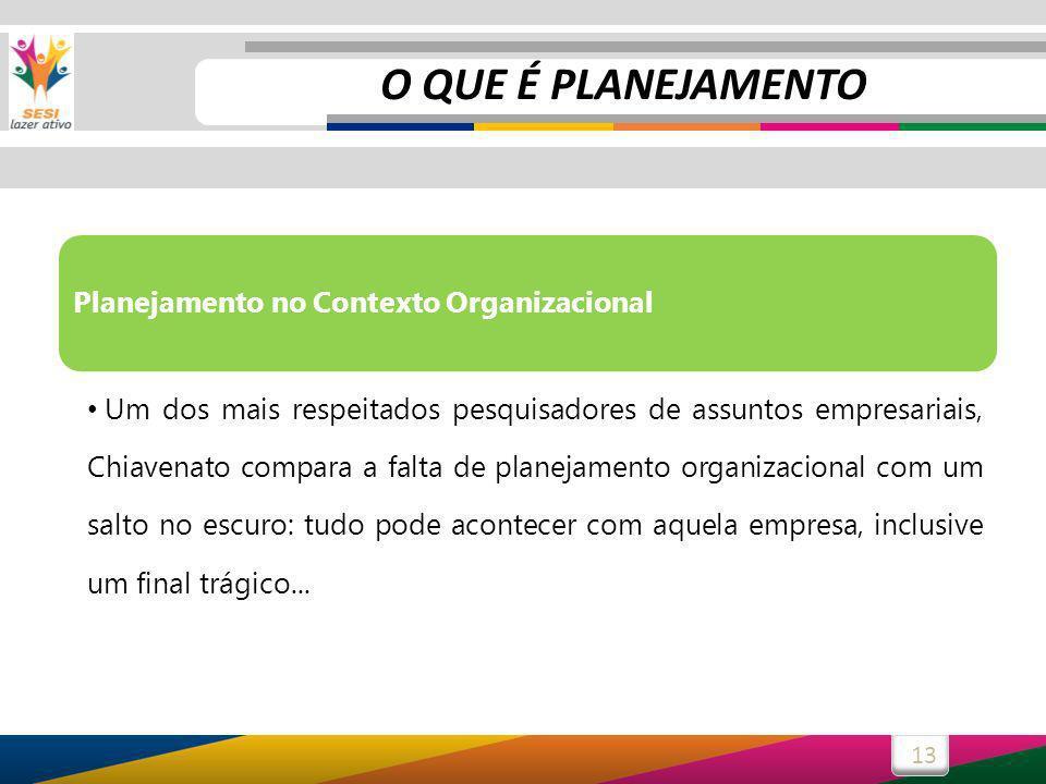 13 Planejamento no Contexto Organizacional Um dos mais respeitados pesquisadores de assuntos empresariais, Chiavenato compara a falta de planejamento organizacional com um salto no escuro: tudo pode acontecer com aquela empresa, inclusive um final trágico...