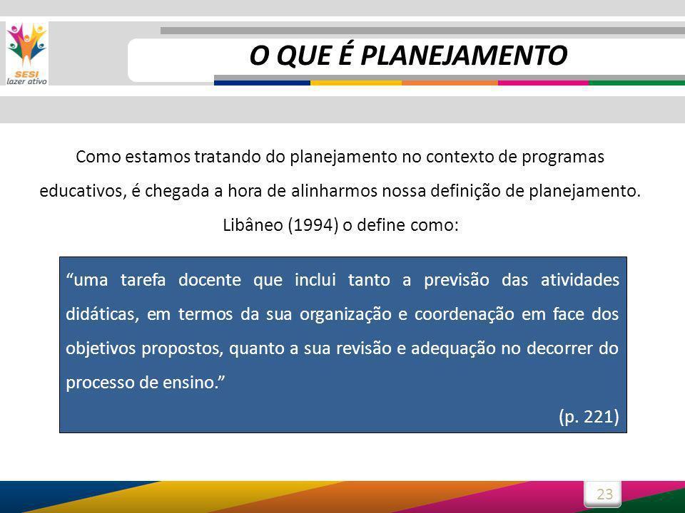 23 Como estamos tratando do planejamento no contexto de programas educativos, é chegada a hora de alinharmos nossa definição de planejamento.