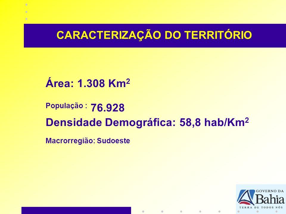 CARACTERIZAÇÃO DO TERRITÓRIO Área: 1.308 Km 2 População : 76.928 Densidade Demográfica: 58,8 hab/Km 2 Macrorregião: Sudoeste