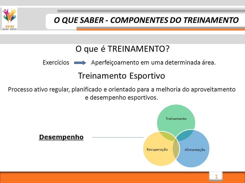 2 Este processo que caracteriza o treinamento, compõe um programa de exercícios físicos com objetivos GERAIS COMPONENTES DO TREINAMENTO