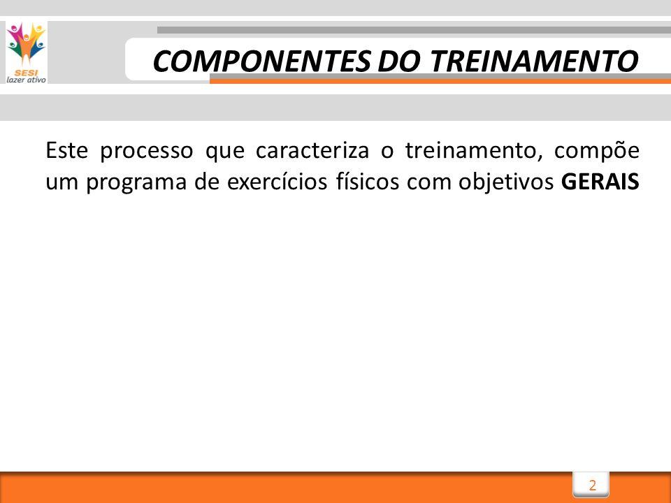 3 Este processo que caracteriza o treinamento, compõe um programa de exercícios físicos com objetivos GERAIS usado para um desenvolvimento de todo o corpo, COMPONENTES DO TREINAMENTO