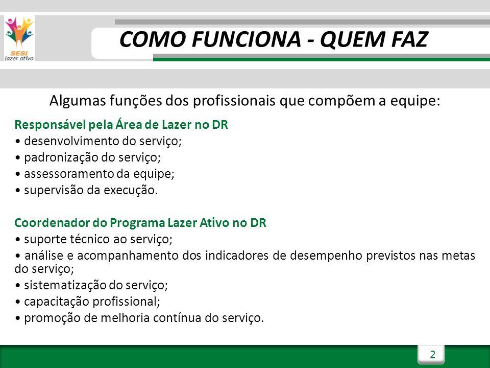 2 COMO FUNCIONA - QUEM FAZ Algumas funções dos profissionais que compõem a equipe: Responsável pela Área de Lazer no DR desenvolvimento do serviço; pa