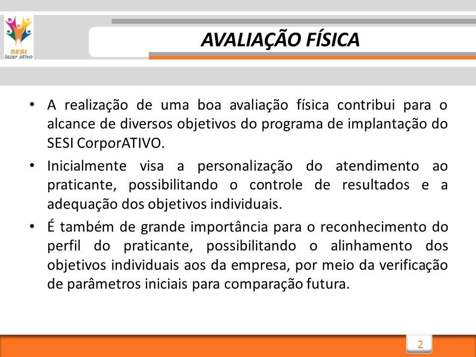 2 AVALIAÇÃO FÍSICA A realização de uma boa avaliação física contribui para o alcance de diversos objetivos do programa de implantação do SESI CorporAT