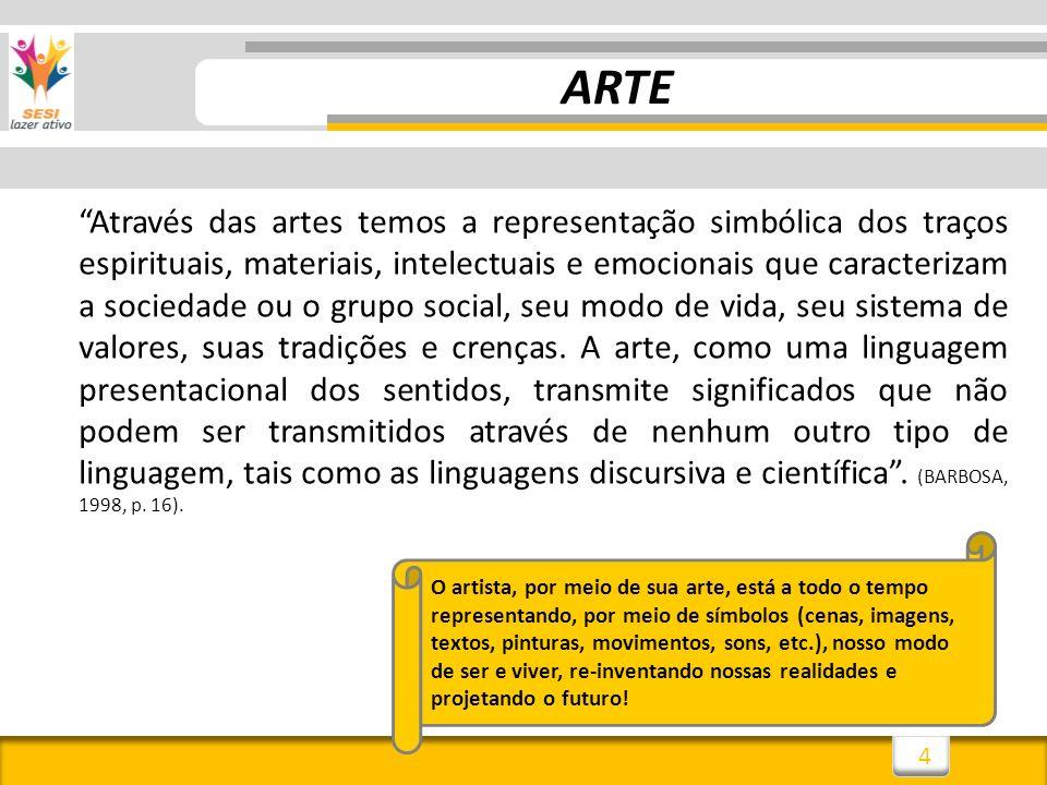4 ARTE Através das artes temos a representação simbólica dos traços espirituais, materiais, intelectuais e emocionais que caracterizam a sociedade ou