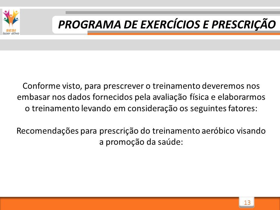 13 Conforme visto, para prescrever o treinamento deveremos nos embasar nos dados fornecidos pela avaliação física e elaborarmos o treinamento levando