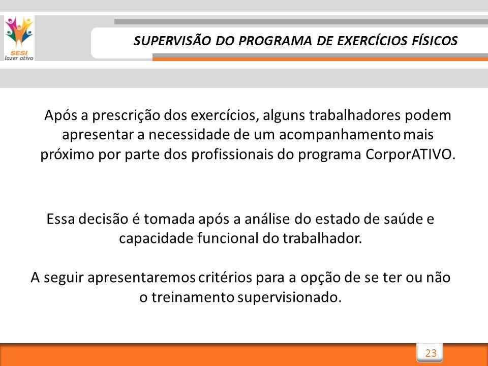 23 SUPERVISÃO DO PROGRAMA DE EXERCÍCIOS FÍSICOS Após a prescrição dos exercícios, alguns trabalhadores podem apresentar a necessidade de um acompanham