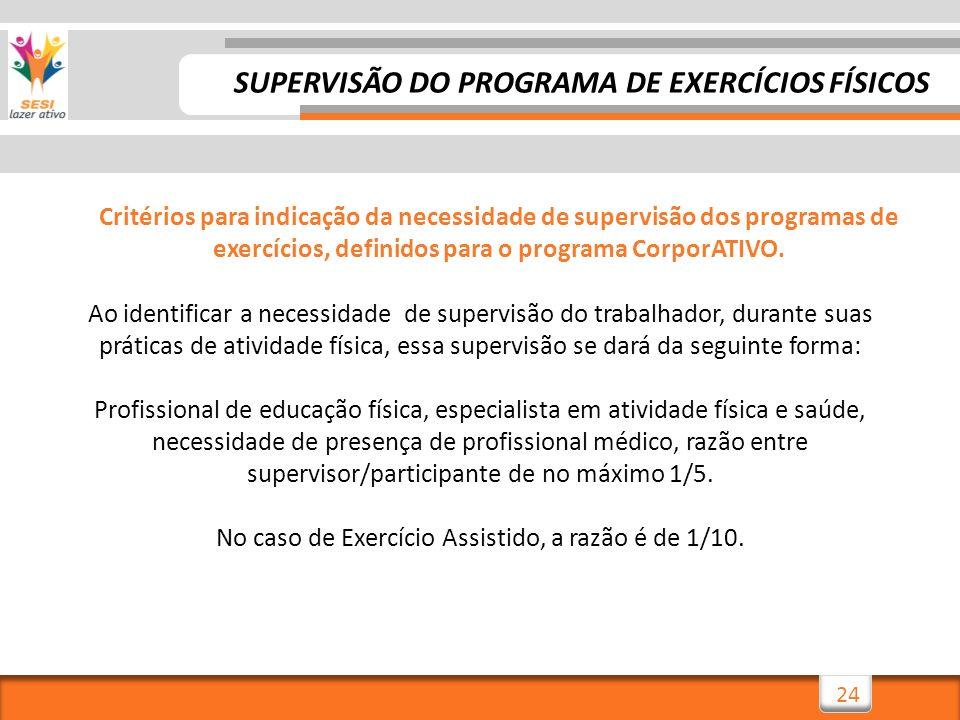 24 Critérios para indicação da necessidade de supervisão dos programas de exercícios, definidos para o programa CorporATIVO. Ao identificar a necessid