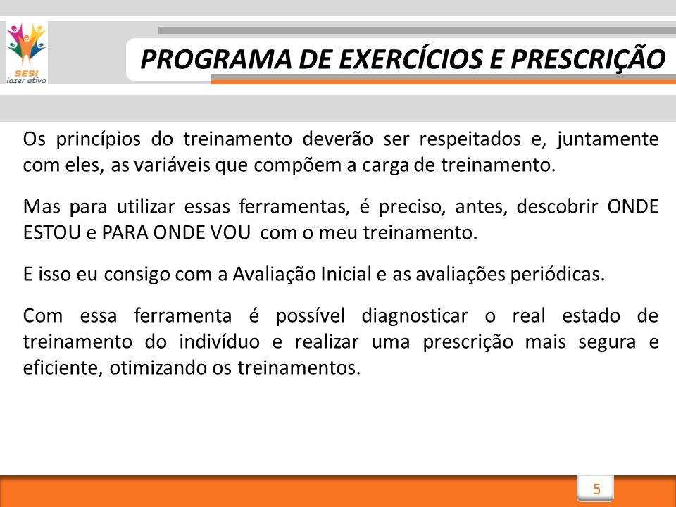 5 Os princípios do treinamento deverão ser respeitados e, juntamente com eles, as variáveis que compõem a carga de treinamento. Mas para utilizar essa