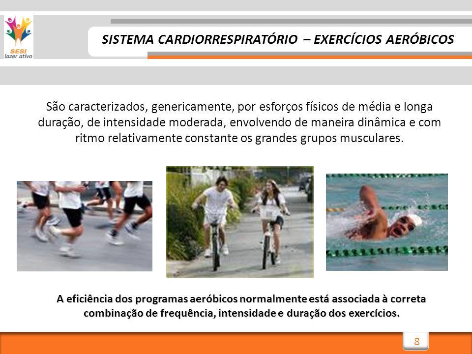 8 SISTEMA CARDIORRESPIRATÓRIO – EXERCÍCIOS AERÓBICOS São caracterizados, genericamente, por esforços físicos de média e longa duração, de intensidade