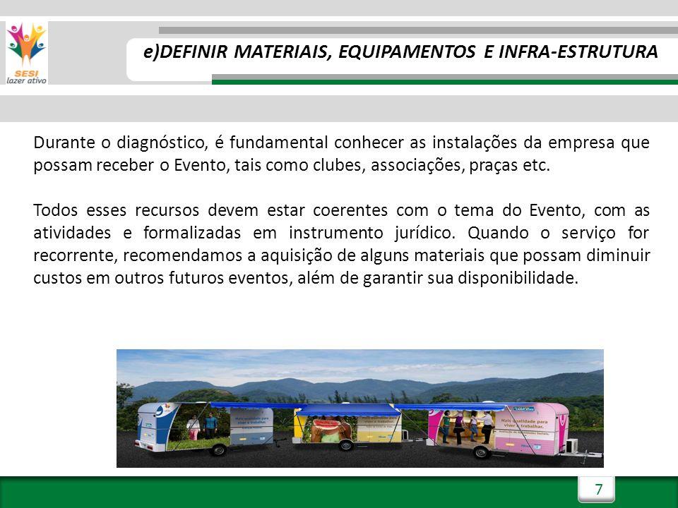 8 f) DEFINIR EQUIPE DE TRABALHO (INTERNA E TERCEIROS) O porte do Evento e suas especificidades geram a demanda pela qual define-se a equipe.