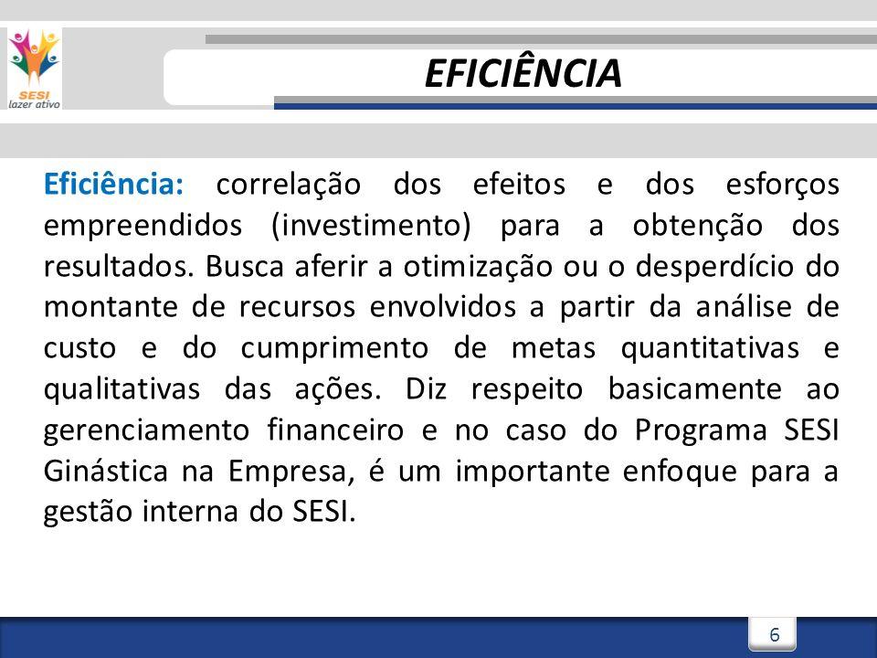 6 Eficiência: correlação dos efeitos e dos esforços empreendidos (investimento) para a obtenção dos resultados.