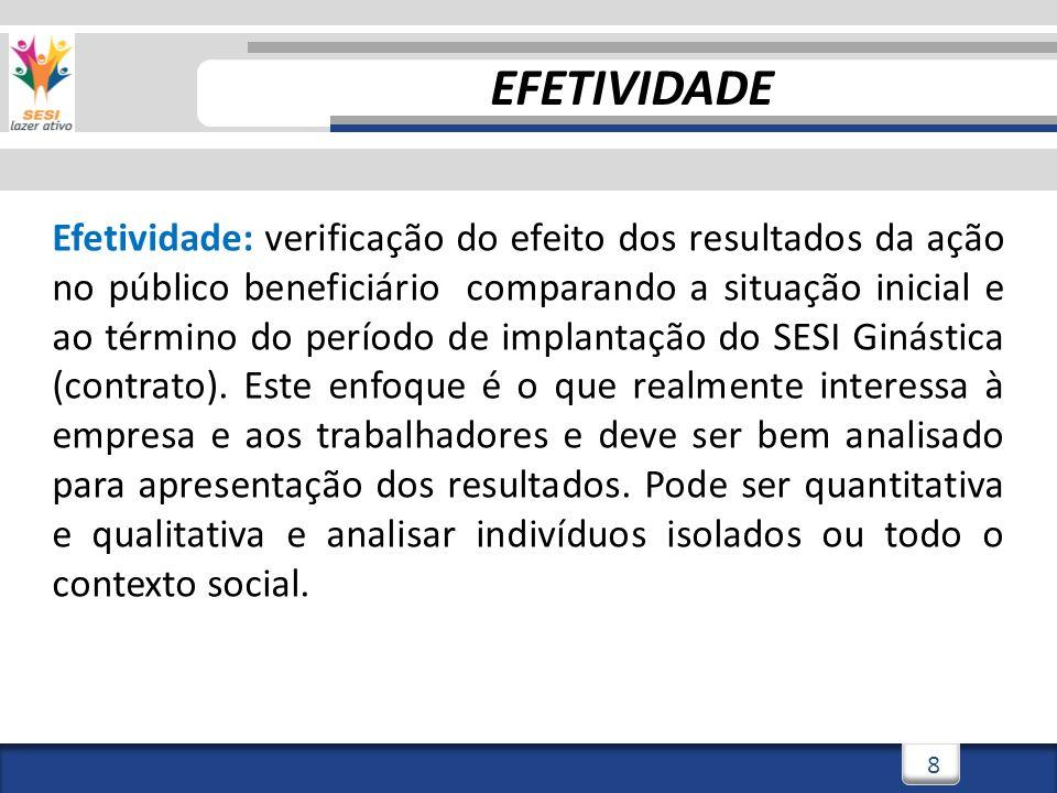 8 Efetividade: verificação do efeito dos resultados da ação no público beneficiário comparando a situação inicial e ao término do período de implantação do SESI Ginástica (contrato).