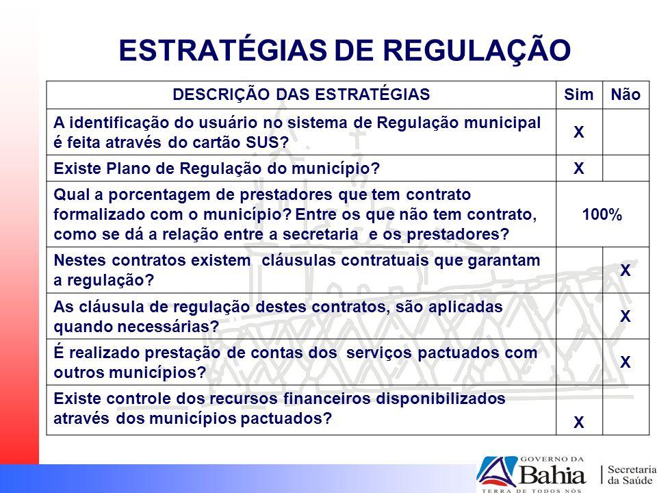 ESTRATÉGIAS DE REGULAÇÃO DESCRIÇÃO DAS ESTRATÉGIASSimNão A identificação do usuário no sistema de Regulação municipal é feita através do cartão SUS? X