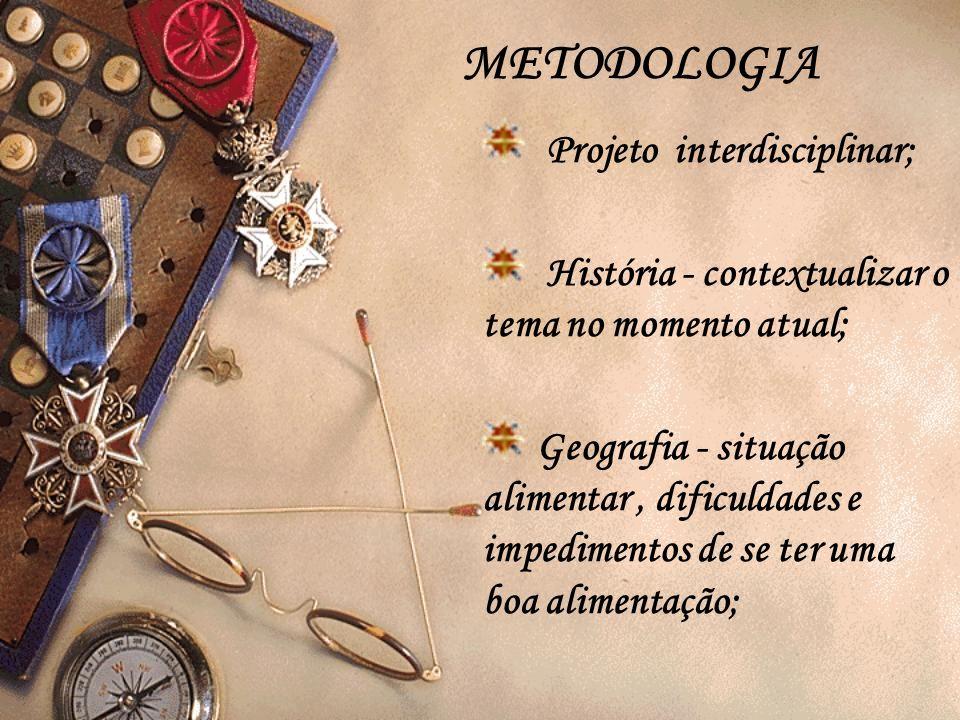 METODOLOGIA Projeto interdisciplinar; História - contextualizar o tema no momento atual; Geografia - situação alimentar, dificuldades e impedimentos d