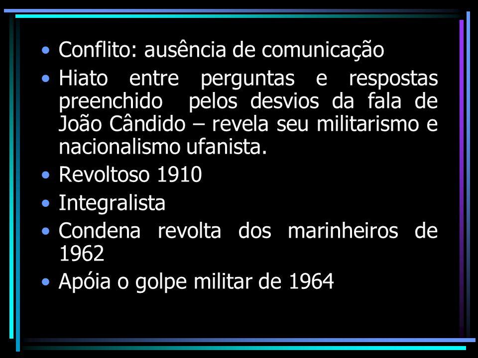 Conflito: ausência de comunicação Hiato entre perguntas e respostas preenchido pelos desvios da fala de João Cândido – revela seu militarismo e nacion