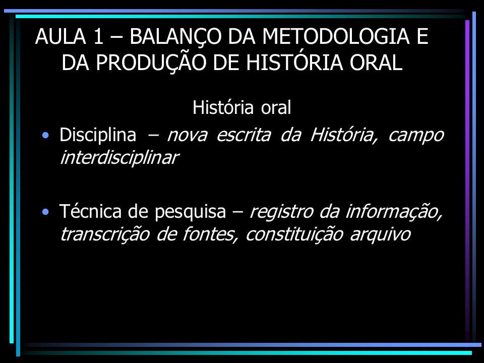 Metodologia Construção de fontes/ documentos provocados Questões metodológicas sobre a constituição do conhecimento Tradição oral, memórias, identidades