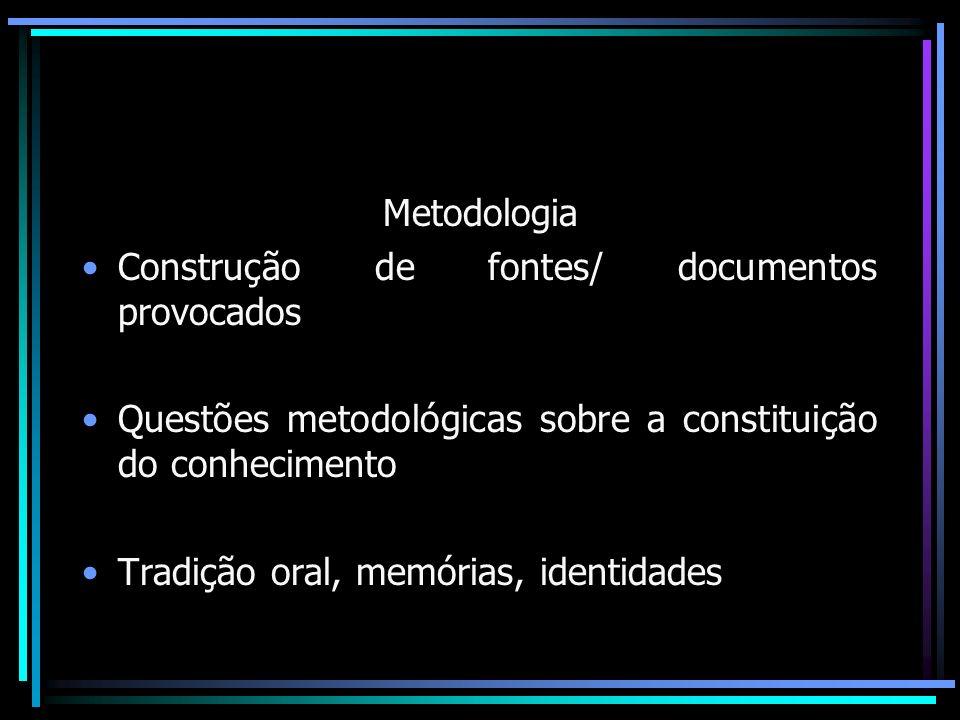História Oral Método Interdisciplinar – História, sociologia, antropologia, lingüística, psicologia, jornalismo.