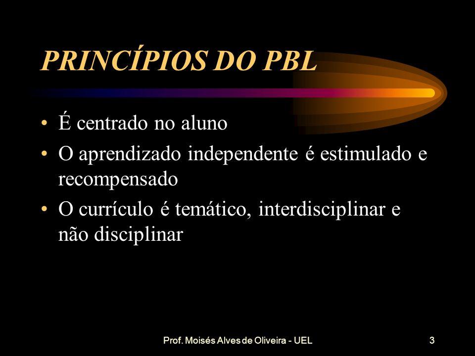 Prof. Moisés Alves de Oliveira - UEL CARACTERÍSTICAS DO ENSINO TRADICIONAL É centrado no professor É baseado em aulas expositivas Privilegia a reprodu