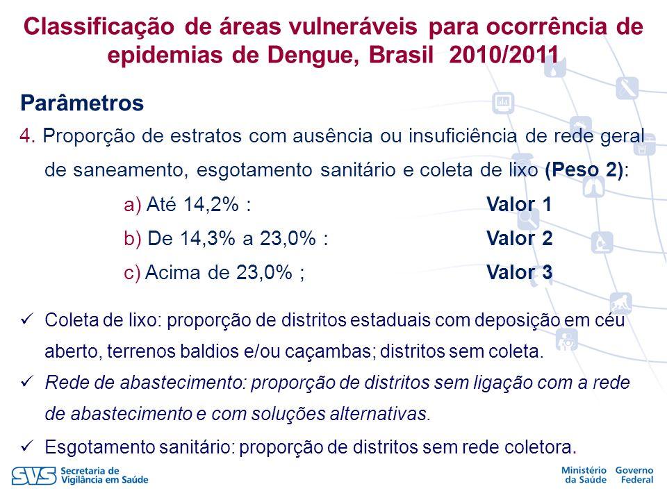 4. Proporção de estratos com ausência ou insuficiência de rede geral de saneamento, esgotamento sanitário e coleta de lixo (Peso 2): a) Até 14,2% : Va