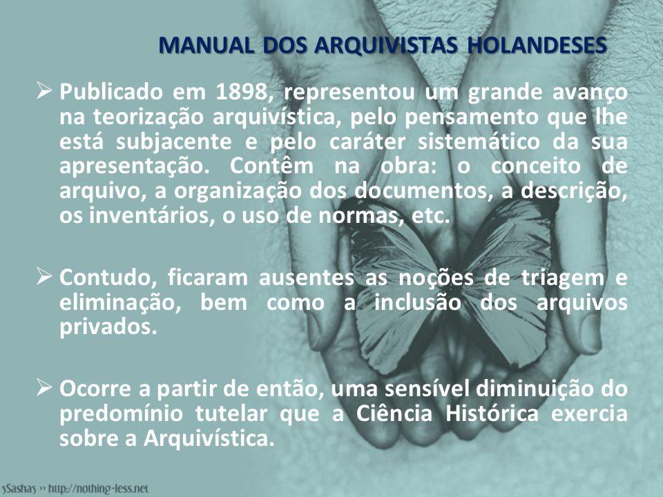 MANUAL DOS ARQUIVISTAS HOLANDESES Publicado em 1898, representou um grande avanço na teorização arquivística, pelo pensamento que lhe está subjacente