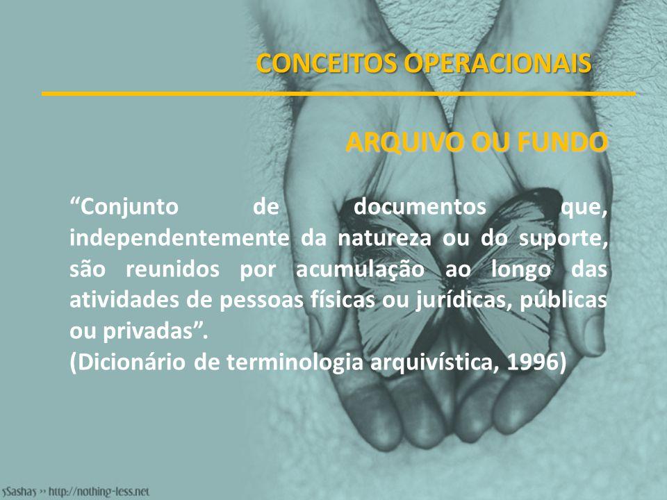 CONCEITOS OPERACIONAIS ARQUIVO OU FUNDO Conjunto de documentos que, independentemente da natureza ou do suporte, são reunidos por acumulação ao longo