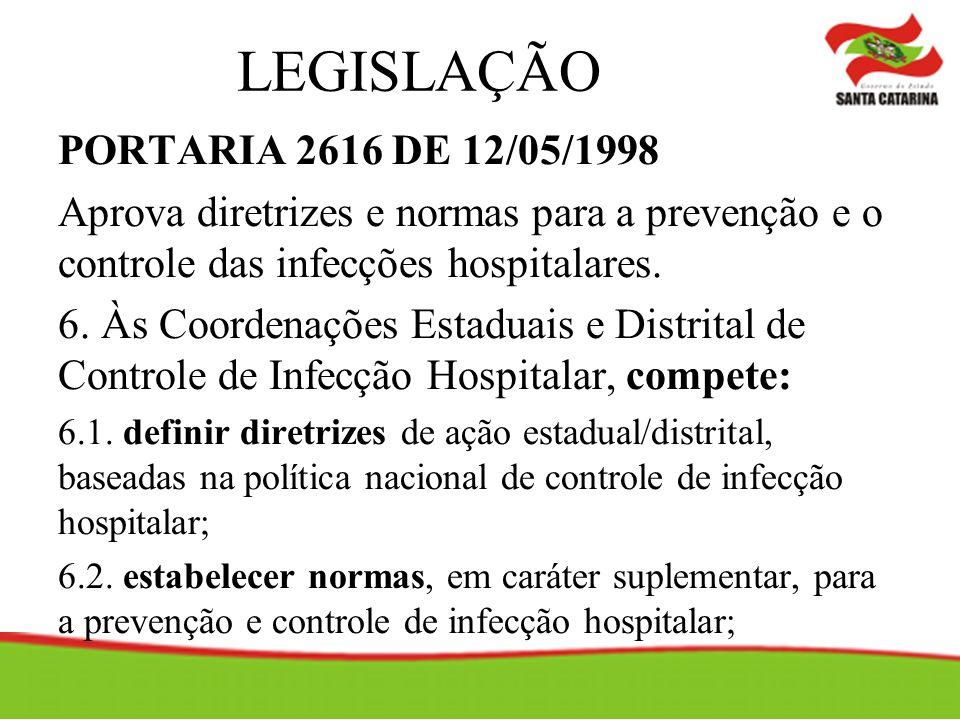 LEGISLAÇÃO PORTARIA 2616 DE 12/05/1998 Aprova diretrizes e normas para a prevenção e o controle das infecções hospitalares.
