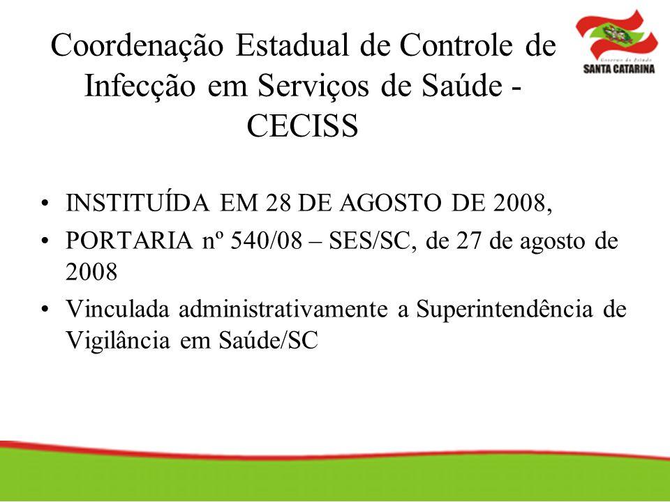 Coordenação Estadual de Controle de Infecção em Serviços de Saúde - CECISS INSTITUÍDA EM 28 DE AGOSTO DE 2008, PORTARIA nº 540/08 – SES/SC, de 27 de agosto de 2008 Vinculada administrativamente a Superintendência de Vigilância em Saúde/SC