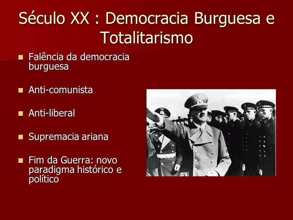 Século XX : Democracia Burguesa e Totalitarismo Falência da democracia burguesa Falência da democracia burguesa Anti-comunista Anti-comunista Anti-lib