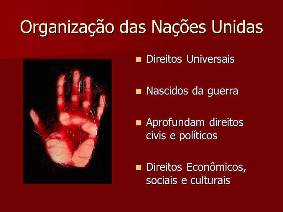 Organização das Nações Unidas Direitos Universais Direitos Universais Nascidos da guerra Nascidos da guerra Aprofundam direitos civis e políticos Apro