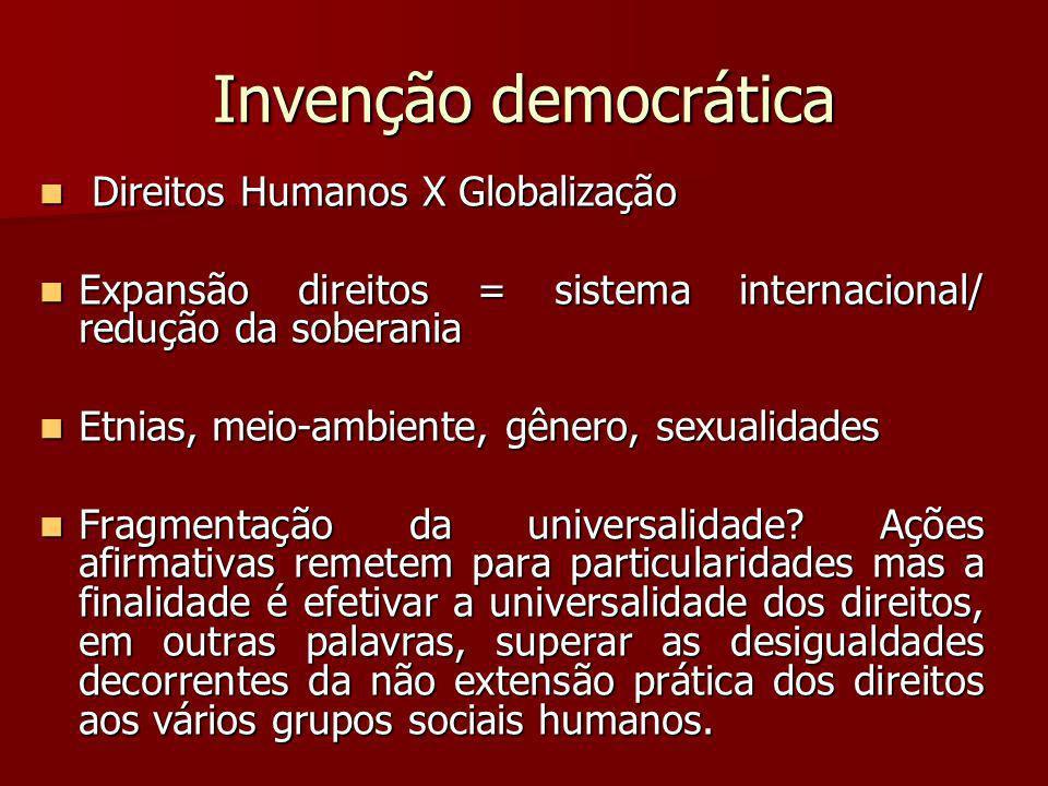 Invenção democrática Direitos Humanos X Globalização Direitos Humanos X Globalização Expansão direitos = sistema internacional/ redução da soberania E