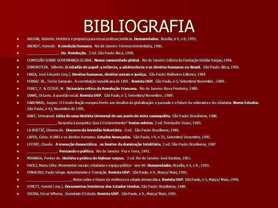BIBLIOGRAFIA AGUIAR, Roberto. Histórico e proposta para novas práticas jurídicas. Humanidades. Brasília, n 4, v 8, 1992. AGUIAR, Roberto. Histórico e