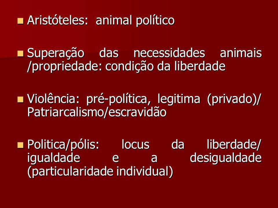 Aristóteles: animal político Aristóteles: animal político Superação das necessidades animais /propriedade: condição da liberdade Superação das necessi