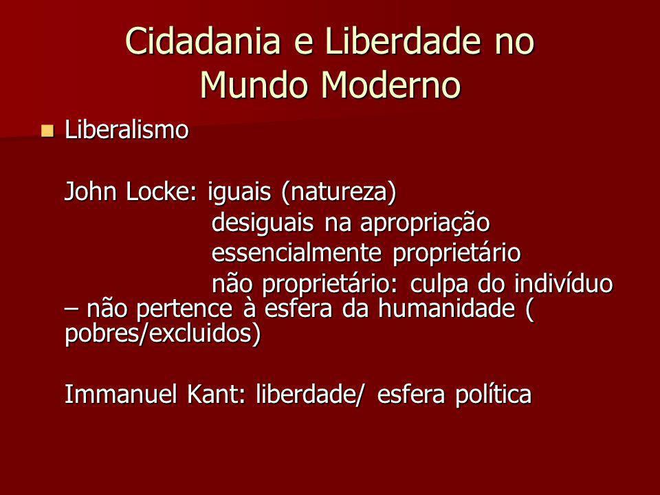 Cidadania e Liberdade no Mundo Moderno Liberalismo Liberalismo John Locke: iguais (natureza) desiguais na apropriação desiguais na apropriação essenci
