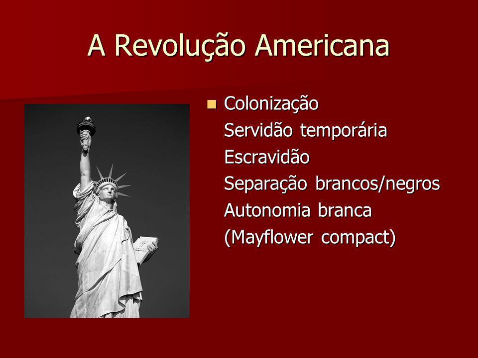 A Revolução Americana Colonização Colonização Servidão temporária Escravidão Separação brancos/negros Autonomia branca (Mayflower compact)