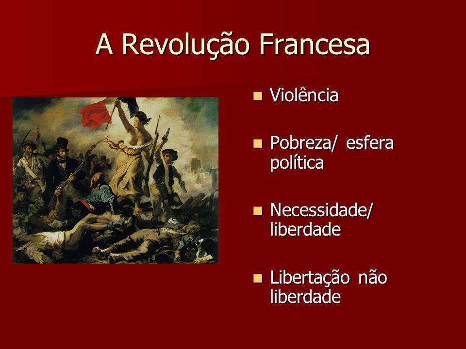 A Revolução Francesa Violência Violência Pobreza/ esfera política Pobreza/ esfera política Necessidade/ liberdade Necessidade/ liberdade Libertação nã