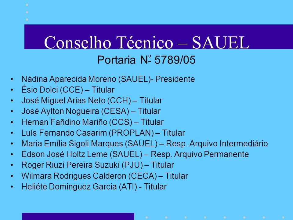 Conselho Técnico – SAUEL Portaria N º 5789/05 Nádina Aparecida Moreno (SAUEL)- Presidente Ésio Dolci (CCE) – Titular José Miguel Arias Neto (CCH) – Ti