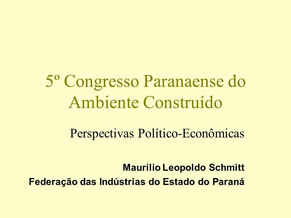 5º Congresso Paranaense do Ambiente Construído Perspectivas Político-Econômicas Maurílio Leopoldo Schmitt Federação das Indústrias do Estado do Paraná