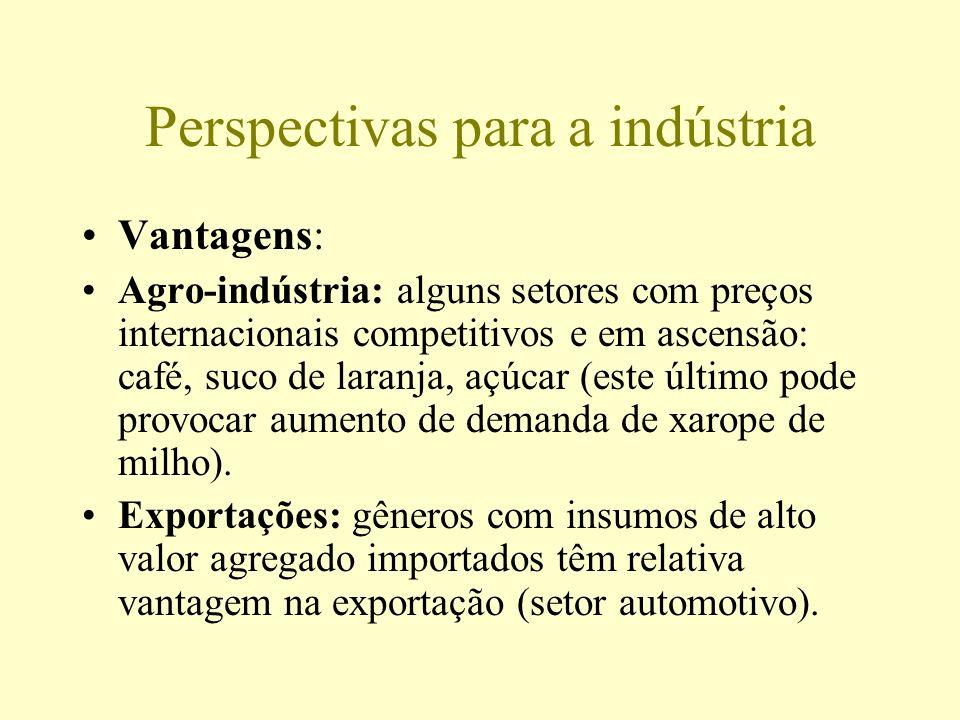 Perspectivas para a indústria Vantagens: Agro-indústria: alguns setores com preços internacionais competitivos e em ascensão: café, suco de laranja, a