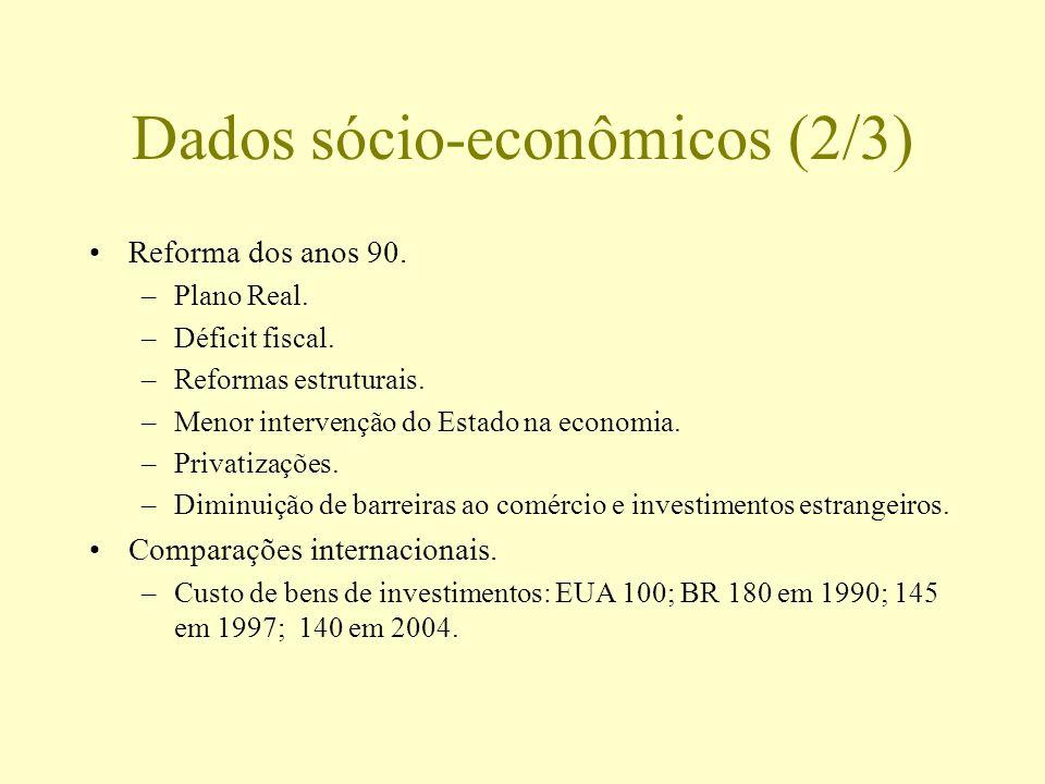Dados sócio-econômicos (2/3) Reforma dos anos 90. –Plano Real. –Déficit fiscal. –Reformas estruturais. –Menor intervenção do Estado na economia. –Priv