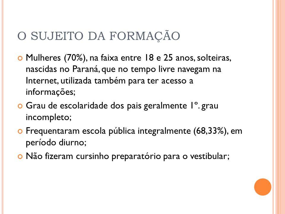 O SUJEITO DA FORMAÇÃO Mulheres (70%), na faixa entre 18 e 25 anos, solteiras, nascidas no Paraná, que no tempo livre navegam na Internet, utilizada ta