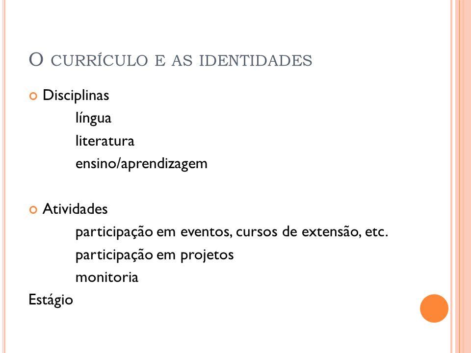 O CURRÍCULO E AS IDENTIDADES Disciplinas língua literatura ensino/aprendizagem Atividades participação em eventos, cursos de extensão, etc. participaç