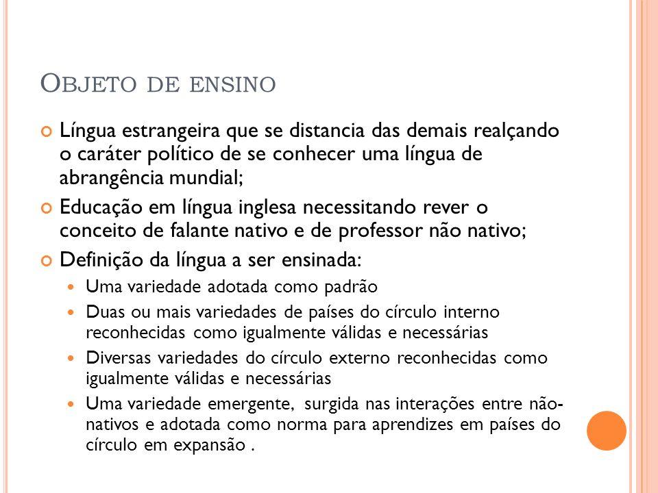 O BJETO DE ENSINO Língua estrangeira que se distancia das demais realçando o caráter político de se conhecer uma língua de abrangência mundial; Educaç