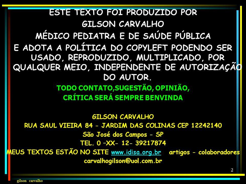 gilson carvalho 12 AÇÕES E SERVIÇOS DE SAÚDE CF 200 E LEI 8080 – ART.6 VIGILÂNCIA SANITÁRIA VIGILÂNCIA EPIDEMILÓGICA SAÚDE DO TRABALHADOR ASSISTÊNCIA TERAPÊUTICA INTEGRAL, INCLUSIVE FARMACÊUTICA PARTICIPAÇÃO DA FORMULAÇÃO DA POLÍTICA E NA EXECUÇÃO DAS AÇÕES DE SANEAMENTO BÁSICO ORDENAÇÃO DA FORMAÇÃO DE RH VIGILÂNCIA NUTRICIONAL E ORIENTAÇÃO ALIMENTAR COLABORAÇÃO NA PROTEÇÃO DO MEIO AMBIENTE E DO AMBIENTE DO TRABALHO RELEMBRANDO