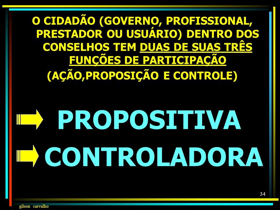 gilson carvalho 33 FUNÇÕES DO CONSELHO DE SAÚDE ATUA NA FORMULAÇÃO DE ESTRATÉGIAS (FUNÇÃO PROPOSITIVA) E NO CONTROLE DA EXECUÇÃO DA POLÍTICA DE SAÚDE