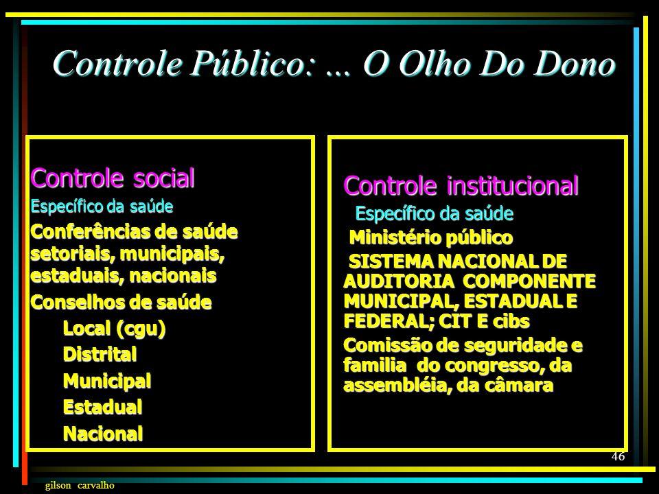gilson carvalho 45 Controle Público:... O Olho Do Dono Controle social Exercício direto do poder Individualmente Através do coletivo: Classista Classi
