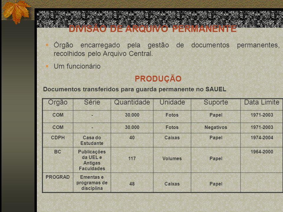 Órgão encarregado pela gestão de documentos permanentes, recolhidos pelo Arquivo Central.