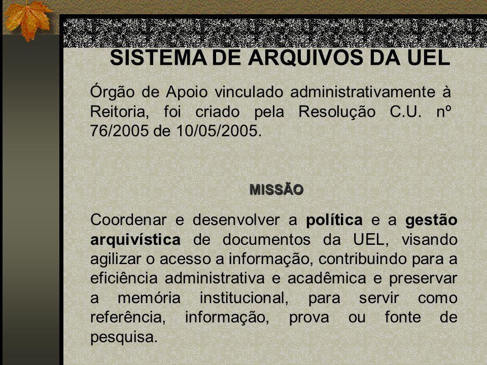 SISTEMA DE ARQUIVOS DA UEL Órgão de Apoio vinculado administrativamente à Reitoria, foi criado pela Resolução C.U.