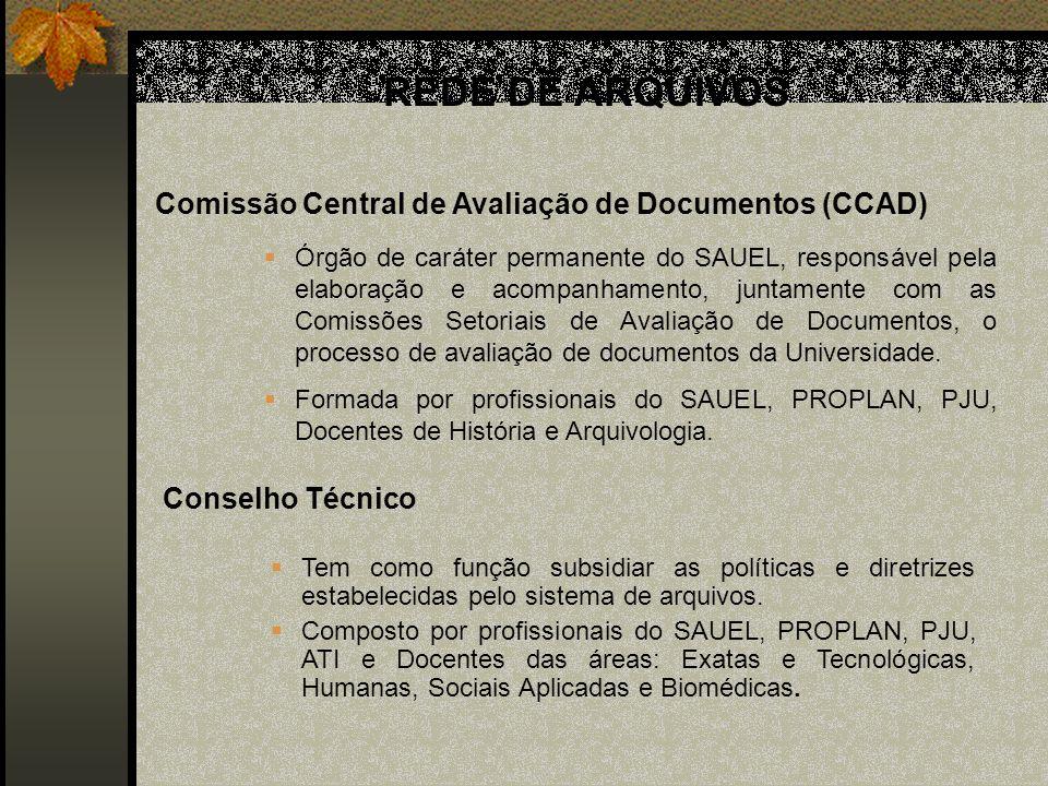 Conselho Técnico Comissão Central de Avaliação de Documentos (CCAD) Órgão de caráter permanente do SAUEL, responsável pela elaboração e acompanhamento, juntamente com as Comissões Setoriais de Avaliação de Documentos, o processo de avaliação de documentos da Universidade.