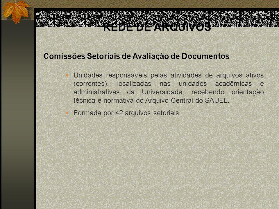 Comissões Setoriais de Avaliação de Documentos Unidades responsáveis pelas atividades de arquivos ativos (correntes), localizadas nas unidades acadêmicas e administrativas da Universidade, recebendo orientação técnica e normativa do Arquivo Central do SAUEL.